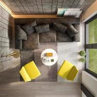 Draufsicht eines Innenraums eines modernen Wohnzimmers im 3D-Rendering foto
