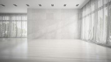 leerer Raum mit grauen Wänden im 3D-Rendering foto