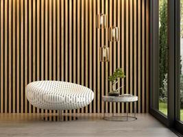 Innenraum eines modernen Raumes mit einem Stuhl im 3D-Rendering foto