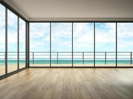 Innenraum eines leeren Raumes mit einem Meerblick in der 3D-Wiedergabe foto