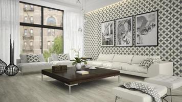 Innenraum eines Wohnzimmers mit stilvoller Tapete im 3D-Rendering