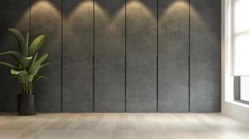 schwarzes minimalistisches Interieur eines modernen Hauses in der 3D-Darstellung foto