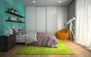 Innenraum eines modernen Schlafzimmers mit blauen Wänden im 3D-Rendering foto