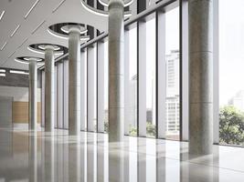Innenraum eines Hotellobbyempfangs in der 3D-Illustration foto