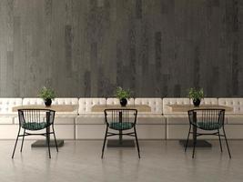 Innenarchitektur eines Coffeeshops oder Cafés in der 3D-Wiedergabe foto