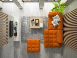 Innenraum eines modernen Designraums in der 3D-Illustration foto
