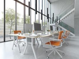 modernes offenes Büro des Innenraums in der 3D-Illustration foto