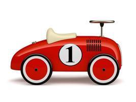 rotes Retro-Spielzeugauto mit einer Nummer eins lokalisiert auf einem weißen Hintergrund foto
