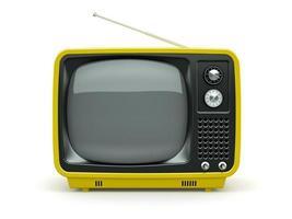 gelber Retro-Fernseher auf weißem Hintergrund