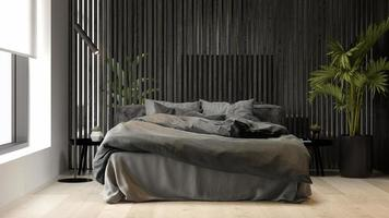 schwarzes minimalistisches Interieur eines modernen Hauses in der 3D-Darstellung