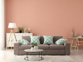Innenraum eines modernen Wohnzimmers mit einem Sofa und Möbeln in 3D-Darstellung foto