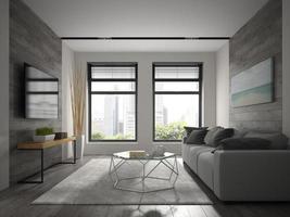 Innenraum des modernen Designraums in der 3D-Wiedergabe foto