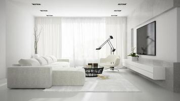 Innenraum eines stilvollen modernen Raumes mit einem weißen Sofa im 3D-Rendering foto