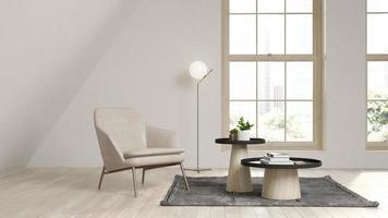 beige Farbe Dachboden Innenraum in 3d Illustration foto