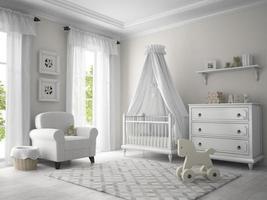 klassische 3D-Wiedergabe der weißen Farbe des Kinderzimmers foto