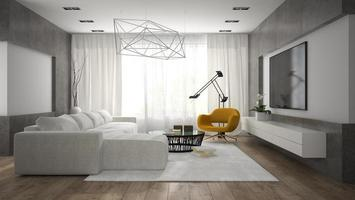 Innenraum eines stilvollen modernen Raumes mit einem weißen Sofa im 3D-Rendering