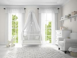 klassisches Kinderzimmer mit einer Wiege im 3D-Rendering foto