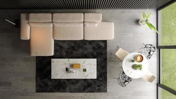 Draufsicht eines Innenraums eines modernen Wohnzimmers im 3D-Rendering