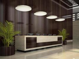 Innenraum eines Hotelempfangsbereichs in der 3D-Illustration foto