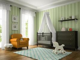 klassisches Kinderzimmer mit einem Sessel im 3D-Rendering foto