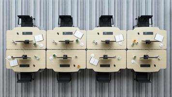 Draufsicht auf ein modernes offenes Raumbüro des Innenraums in der 3D-Illustration foto