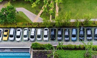 Luftaufnahme des Parkplatzes foto