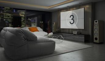 Innenraum des modernen Designraums in der 3D-Wiedergabe