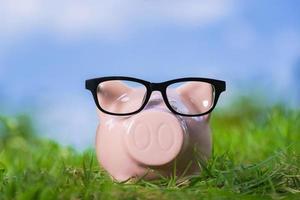 rosa Sparschwein mit Gläsern auf Gras unter blauem Himmel foto