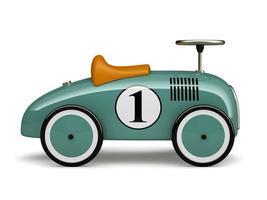 Cyan Retro Spielzeugauto mit einer Nummer eins isoliert auf einem weißen Hintergrund