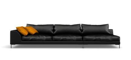 schwarzes modernes Sofa lokalisiert auf einem weißen Hintergrund in der 3D-Wiedergabe foto