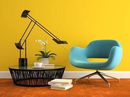 Teil eines Innenraums mit einem modernen blauen Sessel in der 3D-Darstellung foto