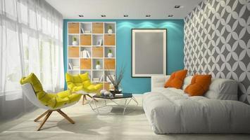 modernes Innendesign eines Raumes in der 3D-Illustration foto