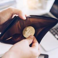 Bitcoin-Münzsymbol des digitalen Geldes der Kryptowährung foto