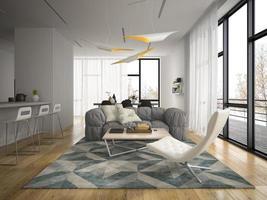 Innenarchitektur eines modernen Raumes in der 3D-Illustration