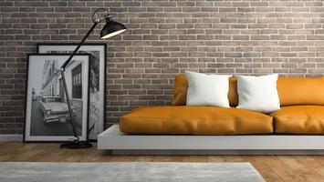 Teil eines Innenraums mit Backsteinmauern und einem orangefarbenen Sofa in 3D-Rendering foto