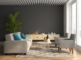 Innenarchitektur eines modernen Raumes in der 3D-Illustration foto