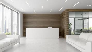 Innenraum eines Empfangs- und Besprechungsraums in 3D-Illustration foto