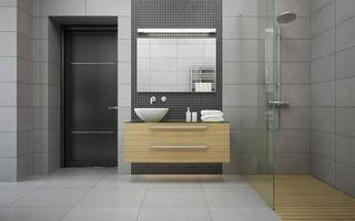 Innenraum eines modernen Designbadezimmers in der 3D-Darstellung foto