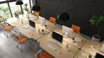 Innenraum eines modernen Büroraums im 3D-Rendering foto