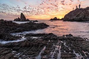 Sonnenuntergang an einer schönen Küste