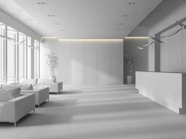 weißer Innenraum eines Hotel- und Spa-Empfangsbereichs in der 3D-Illustration foto