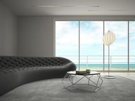 moderner Designraum des Innenraums mit Meerblick in der 3D-Darstellung foto