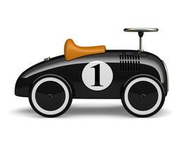 schwarzes Retro-Spielzeugauto mit einer Nummer eins lokalisiert auf einem weißen Hintergrund