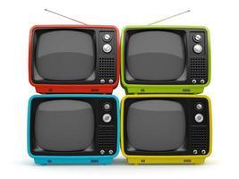mehrfarbige Retro-Fernseher isoliert auf weißem Hintergrund foto