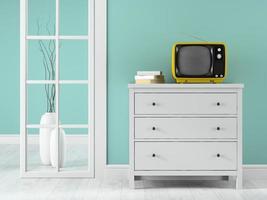 Teil eines Innenraums mit einem gelben Fernseher in 3D-Rendering
