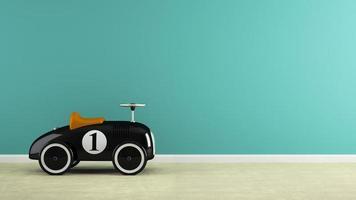 Teil eines Innenraums mit stilvollen schwarzen Spielzeugautos in 3D-Rendering
