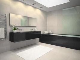 Innenraum eines Badezimmers mit einem Deckenfenster in der 3D-Darstellung foto