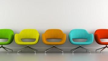 Teil eines Innenraums mit mehrfarbigen modernen Sesseln in 3D-Rendering