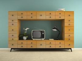 Teil eines Innenraums mit einer Retro-Konsole und einem Fernseher in 3D-Rendering foto
