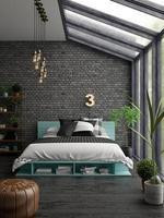 Schlafzimmer Innenarchitektur in 3D-Rendering foto